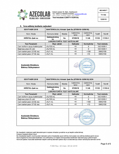 Bacteriological Test Results dated 07.09.18-12.09.18